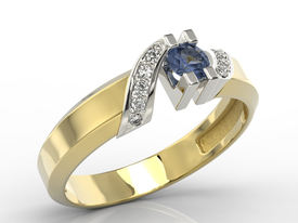 Diamonds & sapphire 14ct gold ring JP-66ZB