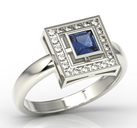 Diamonds & sapphire 14ct white gold LP-68B