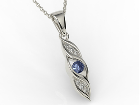 Diamonds & sapphire 14ct white gold pendant APW-51B