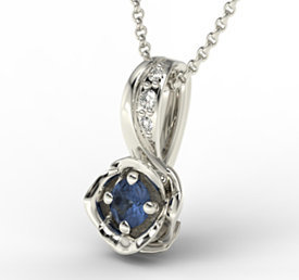 Diamonds & sapphire 14ct white gold pendant LPW-4221B