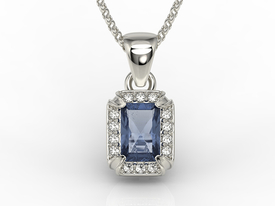 Diamonds & sapphire 14ct white gold pendant LPW-84B