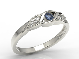 Diamonds & sapphire 14ct white gold ring AP-51B