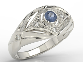 Diamonds & sapphire 14ct white gold ring AP-9908B