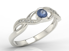 Diamonds & sapphire 14ct white gold ring  BP-39B