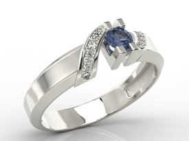 Diamonds & sapphire 14ct white gold ring JP-66B