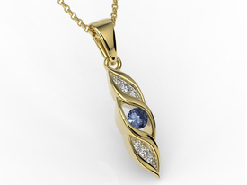 Diamonds & sapphire 14ct yellow gold pendant APW-51Z-R