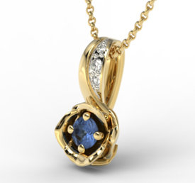 Diamonds & sapphire 14ct yellow gold pendant LPW-4221Z-R