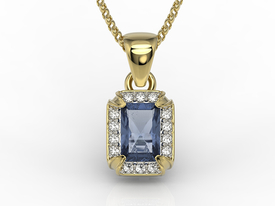 Diamonds & sapphire 14ct yellow gold pendant LPW-84Z
