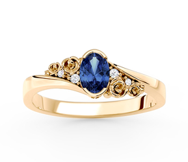 Diamonds & sapphire 14ct yellow gold ring AP-39Z 0,03 ct