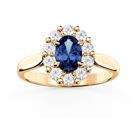 Diamonds & sapphire 14ct yellow gold ring BP-57Z