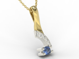 Diamonds & sapphire 14ct yellow & white gold pendant JPW-66ZB
