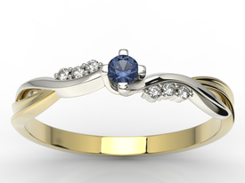 Diamonds & sapphire 14ct yellow & white gold ring 0,03ct  AP-7009ZB