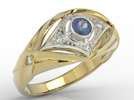 Diamonds & sapphire 14ct yellow & white gold ring AP-9908ZB