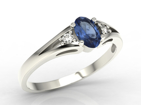 Diamonds & sapphire white gold ring JP-22B