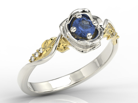 Diamonds & sapphire white & yellow gold ring in the shape of rose LP-7730BZ
