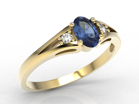 Diamonds & sapphire, yellow gold ring JP-22Z