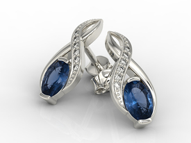 Diamonds & sapphires 14 ct white gold earrings APK-69B  on a stick