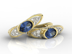 Diamonds & sapphires 14 ct yellow gold earrings APK-80Z
