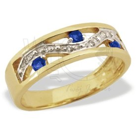 Diamonds & sapphires 14 ct yellow gold ring JP-31Z-R