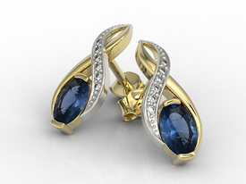 Diamonds & sapphires 14 ct yellow & white gold earrings APK-69ZB  on a stick