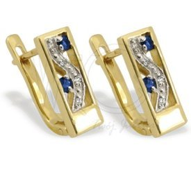 Diamonds & sapphires 14ct gold earrings JPK-31Z-R