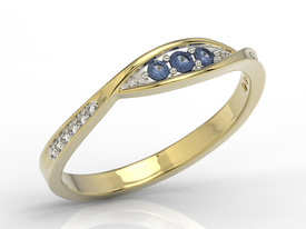 Diamonds & sapphires 14ct gold ring AP-97Z-R