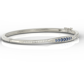 Diamonds & sapphires 14ct white gold bracelet  APBr-97B