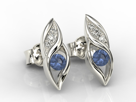 Diamonds & sapphires 14ct white gold earrings APK-51B