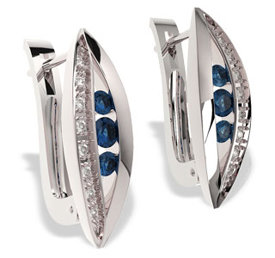 Diamonds & sapphires 14ct white gold earrings JPK-59B