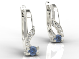 Diamonds & sapphires 14ct white gold earrings JPK-66B