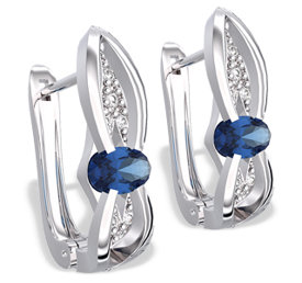 Diamonds & sapphires 14ct white gold earrings LPK-39B