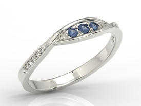 Diamonds & sapphires 14ct white gold ring AP-97B