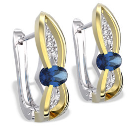 Diamonds & sapphires 14ct white & yellow gold earrings LPK-39BZ