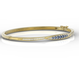 Diamonds & sapphires 14ct yellow gold bracelet  APBr-97Z-R