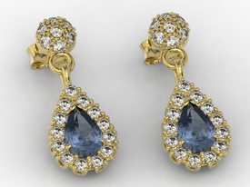 Diamonds & sapphires 14ct yellow gold earrings APK-29Z