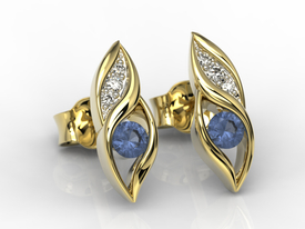 Diamonds & sapphires 14ct yellow gold earrings APK-51Z-R