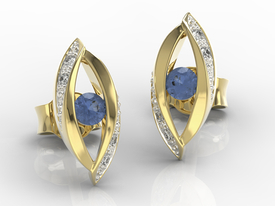 Diamonds & sapphires 14ct yellow gold earrings LPK-60Z-R