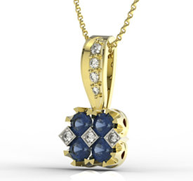 Diamonds & sapphires 14ct yellow gold pendant JPW-56Z-R