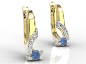 Diamonds & sapphires 14ct yellow & white gold earrings JPK-66ZB