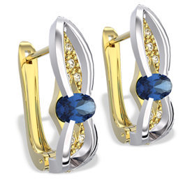 Diamonds & sapphires 14ct yellow & white gold earrings LPK-39ZB