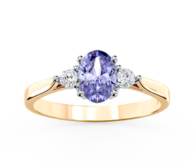 Diamonds & tanzanite 14 ct yellow & white gold ring AP-31ZB