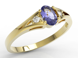 Diamonds & tanzanite 14ct gold engagement ring JP-22Z