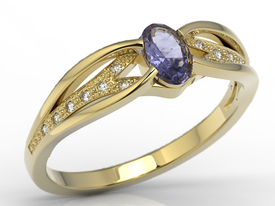 Diamonds & tanzanite 14ct gold ring LP-39Z