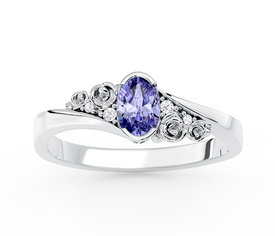 Diamonds & tanzanite 14ct white gold engagement ring AP-39B