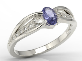 Diamonds & tanzanite 14ct white gold ring LP-39B