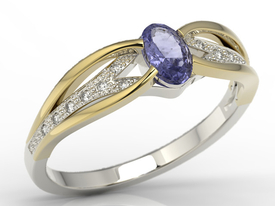 Diamonds & tanzanite 14ct white & yellow gold ring LP-39BZ