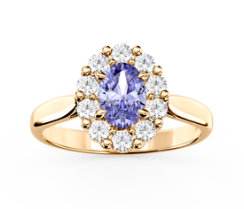 Diamonds & tanzanite 14ct yellow gold ring BP-57Z