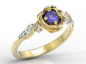 Diamonds & tanzanite, yellow & white gold ring in the shape of rose LP-7730ZB