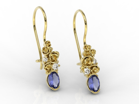 Diamonds & tanzanites, 14ct yellow gold earrings APK-39Z