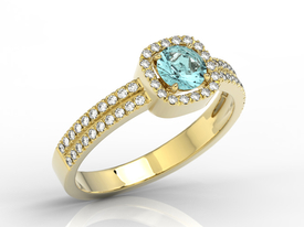 Diamonds & topaz 14ct yellow gold ring BP-52Z